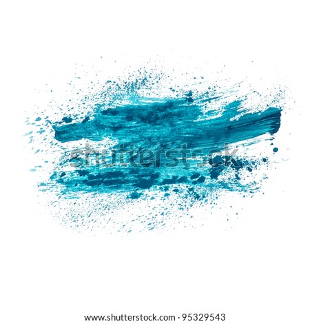 paint watercolour splatter blue watercolors spot blotch isolated - stock photo