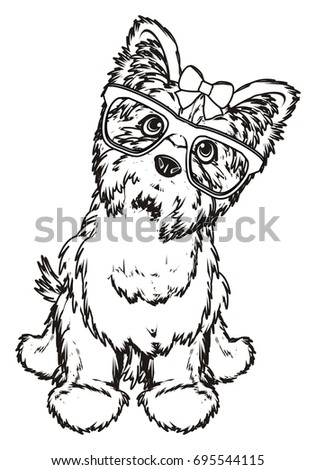 paint Yorkshire terrier with glasses and a bow
