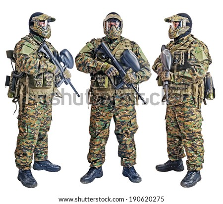 Paintball player isolated in white background - stock photo