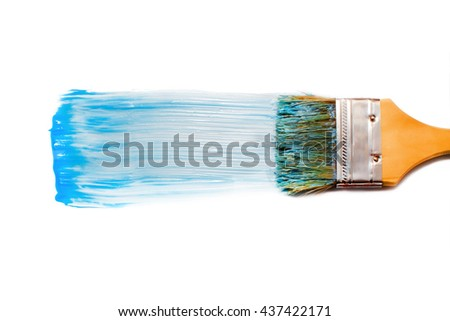 paintbrush and blue dab of toothpaste. blue tooth paste. texture. sample and brush isolated on white background
