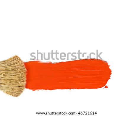 Paintbrush and red streak of paint on white - stock photo