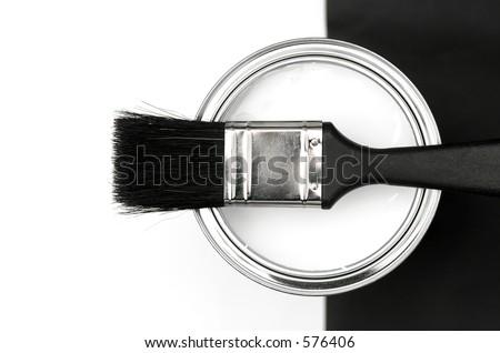 Paintbrush and Tin - stock photo