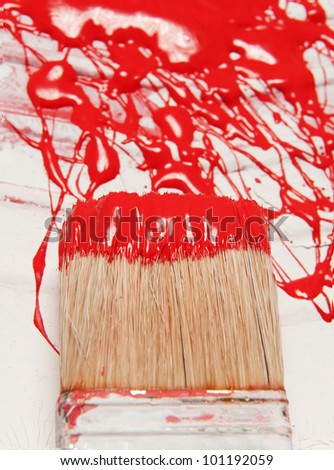 paintbrush close up and abstract painting on a vessels - stock photo