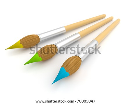 Paintbrush. isolated. 3D illustration. - stock photo
