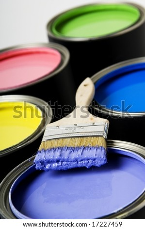 Paintbrush on Paint Can - stock photo