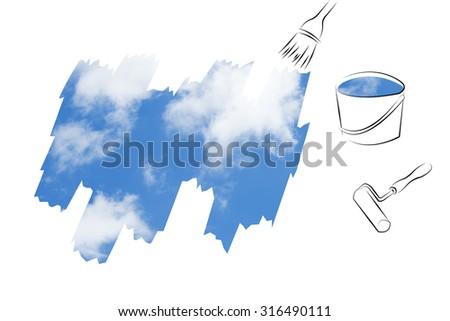 paintbrush painting sky on white background - stock photo