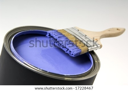 Paintbrush with paint can - stock photo