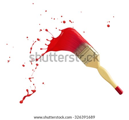 paintbrush with red paint splash isolated on white - stock photo