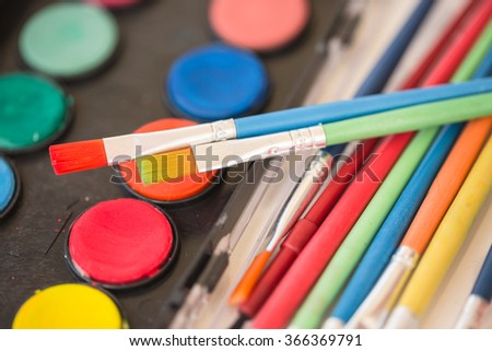 Paintbrushes and  colors