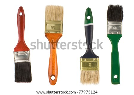 paintbrushes isolated on white background - stock photo