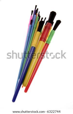 Paintbrushes isolated over white - stock photo