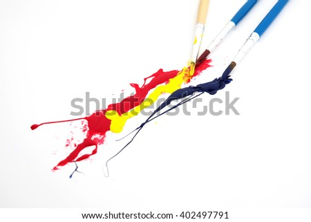 paintbrushes painting  - stock photo