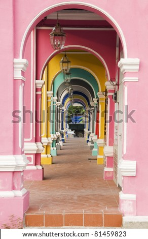 Painted Arches, George Town, Penang, Malaysia - stock photo