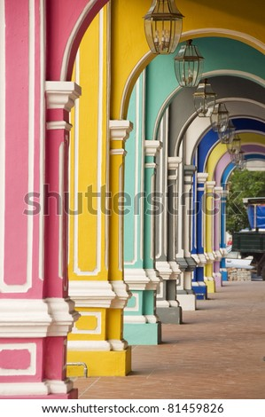 Painted Arches 3, George Town, Penang, Malaysia - stock photo
