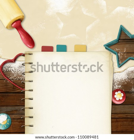 painted baking background: dough, rolling pin, cookie cutters and  blanc for recipes - stock photo