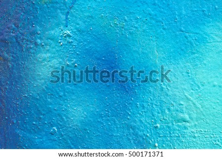 Painted Blue Color Graffiti Wall texture