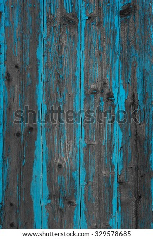 Painted blue old wooden wall - stock photo
