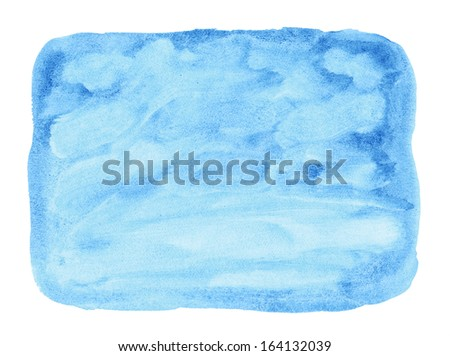 Painted blue watercolor background. Design element - stock photo