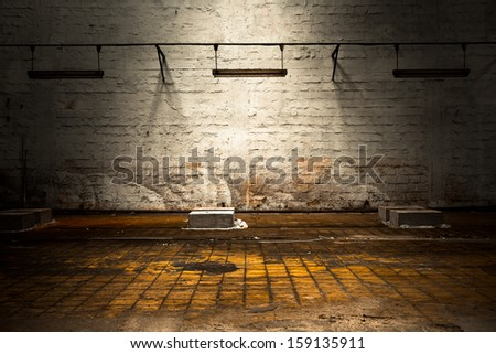 painted brick wall of a factory - stock photo
