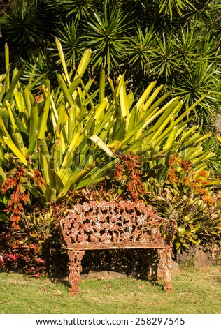 Painted cast iron seat or chair in tropical garden wiht flowers and trees - stock photo