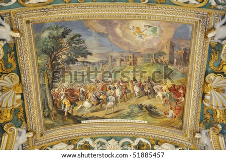 Painted ceiling in Gallery of Maps, Vatican Museums, Rome, Italz