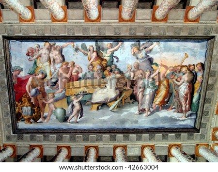 Painted ceiling -Villa Deste, Tivoli, Italy - stock photo