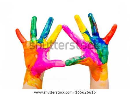Painted child hands colorful fun isolated on white background - stock photo