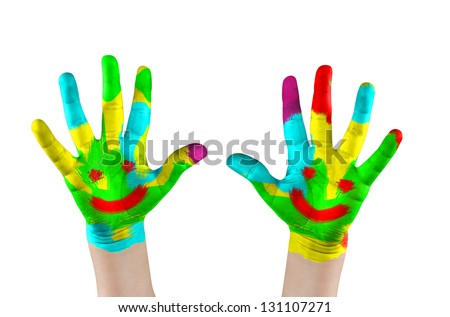 Painted child's hands with smile. Isolated on white - stock photo