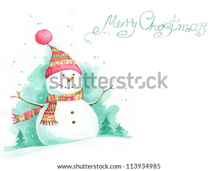 Painted Christmas background with snowman - stock photo