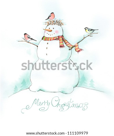 Painted Christmas background with snowman, bullfinch and titmouse - stock photo