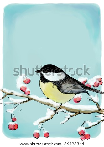 Painted Christmas background with titmouse - stock photo