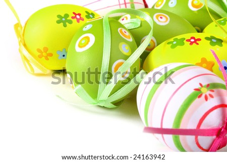 Painted Colorful Easter Eggs on white background - stock photo