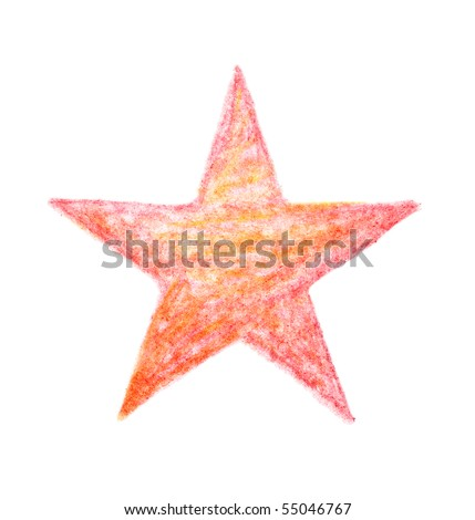 painted crayon star, isolated - stock photo