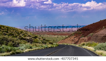 Painted Desert  road in Sunset Crater Park in Arizona