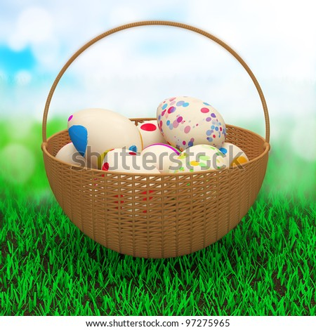 Painted Easter Eggs in a basket on a beautiful green grass