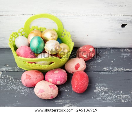 Painted Easter Eggs Decorated Green Basket Stock Photo