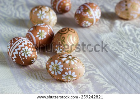painted Easter eggs on a light background - stock photo