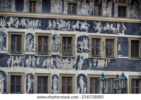 Painted facade of house in Prague, Czech Republic - stock photo