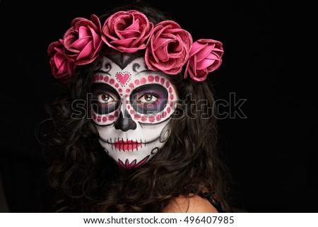 Painted Face Halloween Skull On Woman Stock Photo 496407985 ...