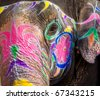 Painted face of India elephant in New Delhi - stock photo
