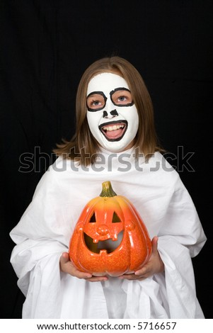 Surprised red haired boy halloween costume stock photo for Surprised pumpkin face