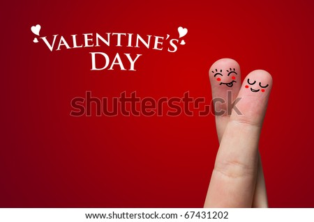 Painted finger smiley, valentine's day theme - stock photo