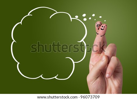 Painted finger smiley with copyspace - stock photo