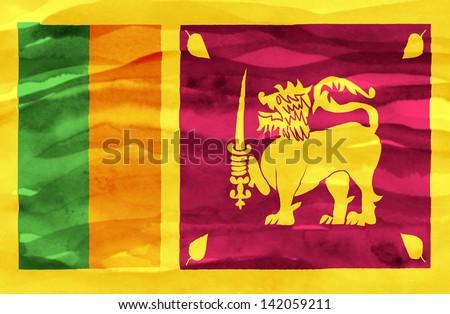 Painted flag of Sri Lanka - stock photo