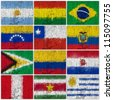 Painted Flags of South America at the cracked wall - stock photo