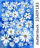 Painted floral watercolor card, background. Camomile, summer. - stock photo