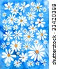 Painted floral watercolor card, background. Camomile, summer. (light) - stock photo