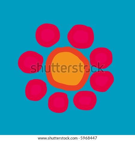 Painted flower in orange and pink, blue background - stock photo