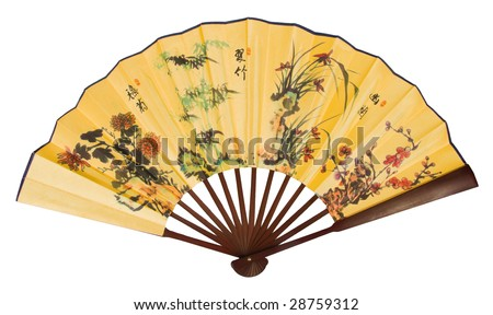 painted hand fan with dragons isolated over white with clipping path