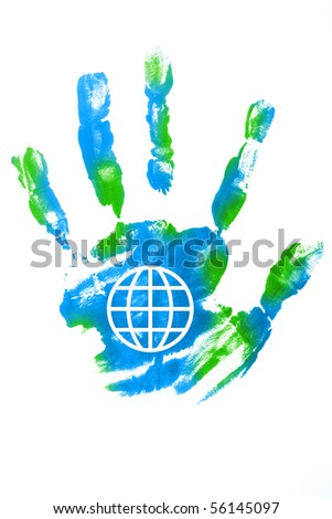 painted hand with the world sign